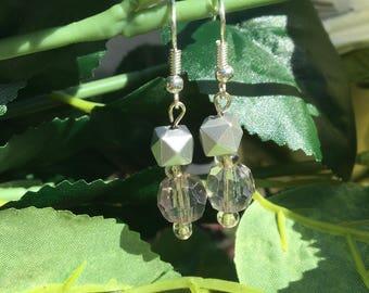 Silver box earrings