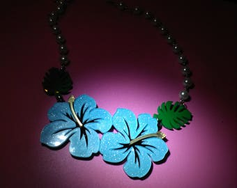 Blue hibiscus statement necklace