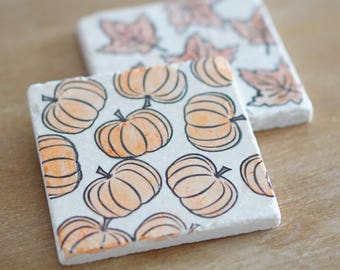 Marble Fall Coasters// Pumpkin Coasters// Halloween Coasters// Thanksgiving Coasters// Marble Coasters