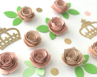 Set of 20 Small Paper Flowers, Dessert Table Decor, Baby Shower, 1st Birthday, Paper Flower Decor, Birthday Decor, Floral table decor,