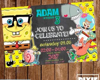 Spongebob Invitation, Spongebob Birthday Invitation, Spongebob Printable or Printed Invitation, Spongebob Printable, Spongebob Birthday Card