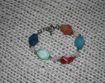 Colored Stone Bracelet And Earring Set