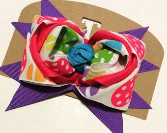 Easter Hair Bow, Bow with Easter Eggs, Little Girls Easter Bow