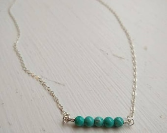 Mingle Collection Turquoise Beaded Bar in Sterling Silver
