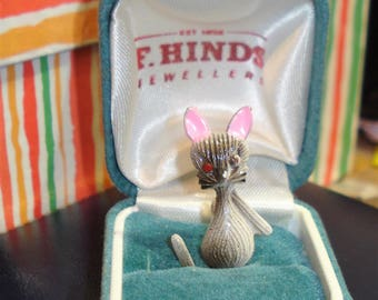 Mouse Brooch Small Vintage Plastic Pin Fun