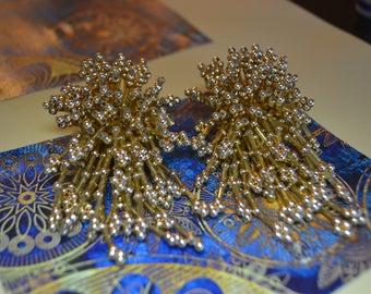 Gold Beaded Cluster Earrings| Vintage Jewelry| Pierced Earrings