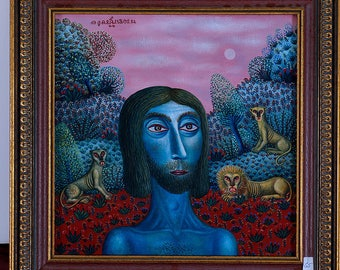 Man in the forest with lions Tamas galambos painting