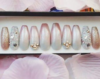 Chic Chick nail set- false nails, fake nails, press on nails, swarovski crystals, chrome, nails