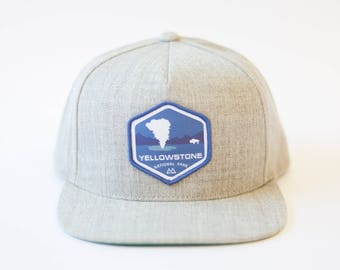 Yellowstone National Park Gray Flat brim snap back