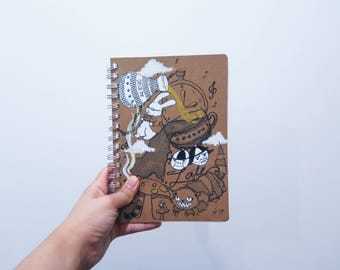 Alice in wonderland hand painted notebook