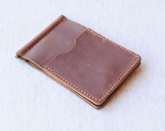 Slim leather wallet, Money clip, Leather money clip, Gifts for him, Leather Wallet, Bi fold wallet, Wallet, Gift for her