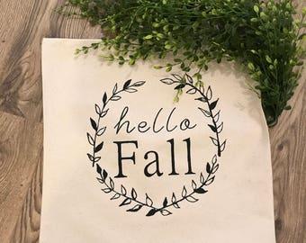Hello Fall 18x18 canvas pillow cover