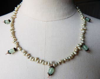 Georgian Antique Style Replica Freshwater Pearl and Glass Drop Bead Necklace