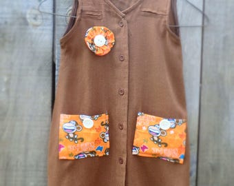 Hand made Upcycled Girl's Dress from Men's shirt.  Age 4. Brown dress.