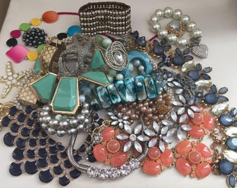 Broken Jewelry Lot Rhinestone Vintage Repair Upcycle Crafting Rhinestones Costume Jewelry