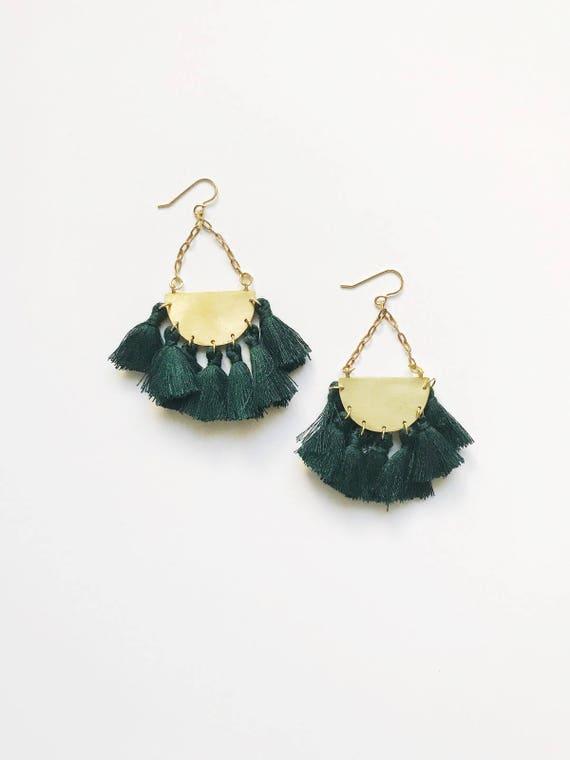 Crescent Tassel Drop Earrings