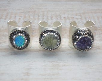 Boho Chic Pave Cz Encrusted Druzy and Opal Hammered Silver Cuff Adjustable Rings  Cuff Rings