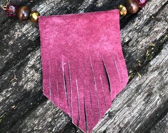 Genuine Leather Bib Necklace in Rose