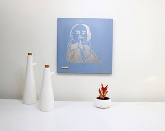 Silver metallic baby Buddha original canvas painting wall art