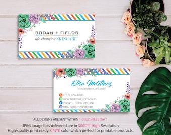 Rodan Fields Business Cards, Rodan and Fields Marketing, Custom Business Card, R+F PERSONALIZED, Floral Card RF, Printable RF08