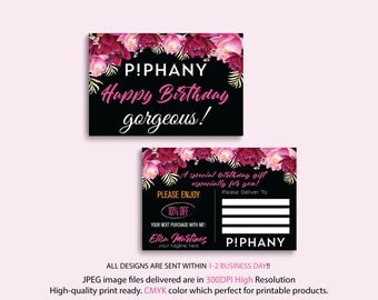 Piphany Birthday Card, Piphany Birthday Discount, Floral Flower Cards, Custom Piphany Marketing Card, Printable Card - PERSONALIZED TP25