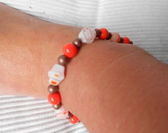 Anklet ~Ankle Bracelet ~Beaded Anklet ~orange and copper ~Handcrafted ~Summertime jewelry ~womens Anklet
