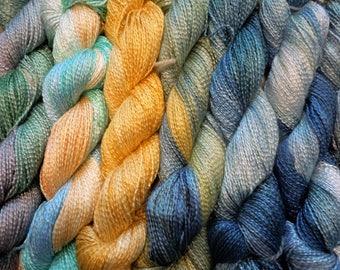 Soft drapey , shiny Rayon 100% plant Hand dyed yarn