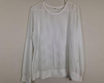 White mesh long sleeve