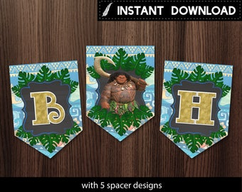 Instant Download - Maui of Moana Birthday Banner Boy Celebrant Birthday Party Banner Bunting Pennant Tribal Tropical Leaves - Digital File