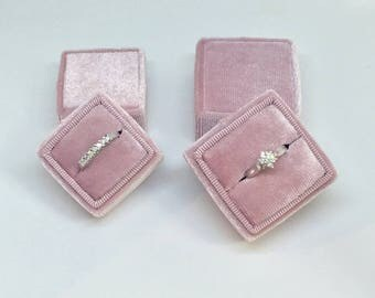Fluweel ring-vak - Vintage ring box - huwelijksgeschenk - Blush