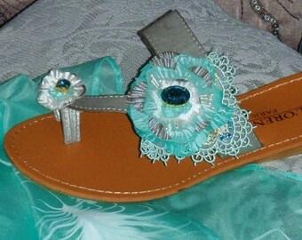 Sandals with a batik flower.   Size 3.5 UK  (36) leather, Swarovski crystals
