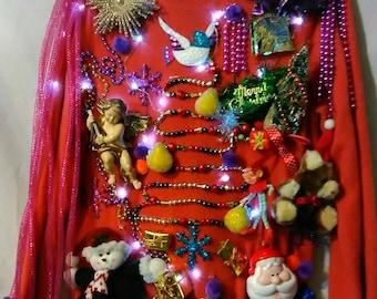 Partridge Pear Tree Ugly Christmas Sweater Women Size Medium Handmade
