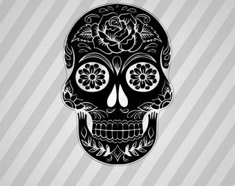 Sugar Skull Silhouette By Karen Arnold - Dxf, Svg, Eps, Rld, Rdworks, Pdf, Png And Ai Print Files, Digital Cut, Vector File, Svg File