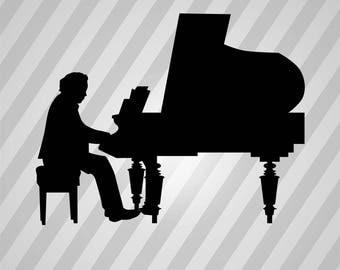 piano player Silhouette - Svg Dxf Eps Silhouette Rld RDWorks Pdf Png AI Files Digital Cut Vector File Svg File Cricut Laser Cut
