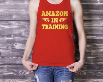 Amazon in Training Racerback Tank Top, Wonder Woman Inspired T-shirt, Wonder Woman Workout Tank Top, Geek Tee, Wonder Woman Active Wear