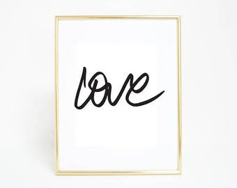 "Love Typography Art, Digital Print, Chic Artwork, Instant Download 16"" x 20"""