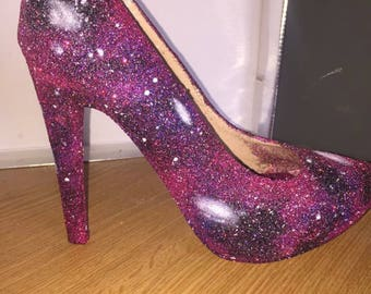 Galaxy shoes-nebula-sparkly-wedding-prom-shoes