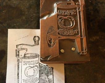 Vintage copper advertising printing block