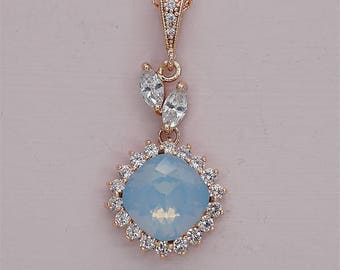 Opal Bridal Necklace Swarovski Crystal Drop Necklace Pendant Necklace for wedding party bridesmaid jewelry gift for her rose gold silver