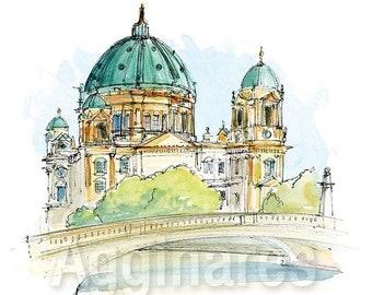Berlin Germany / art print from an original watercolor painting
