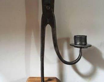 Vintage Repurposed Tinsnip Candlestick