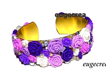 Purple pink cuff with polymer clay