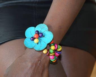 Hand made flowered bracelet