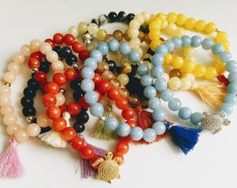 Colorful trendy stretch bead bracelets