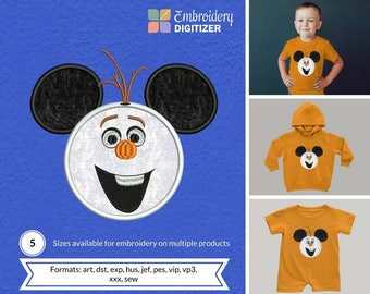 Mickey head with Olaf Snowman Mask Applique Embroidery Design