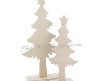 set of 2 Christmas tree in wood on base 24 x 10, 5cm + 17x8cm