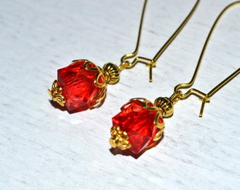 Earrings red and gold