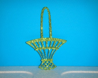 Cutting basket green glitter 10 cm in height