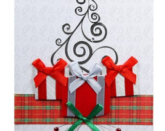 Christmas card / new year tree with gifts packs