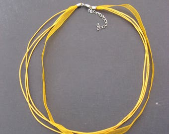2 rounds of orange yellow waxed cotton and organza Choker-